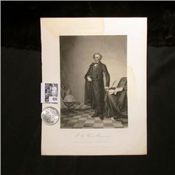 1890 P Morgan Silver Dollar Brilliant Uncirculated; and a black & white print of J.C. Calhoun, with