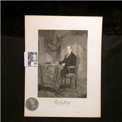 1887 P Morgan Silver Dollar, Choice AU & a black & white print of Rufus King, with a copy of his ori