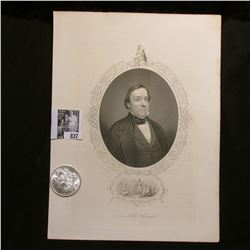 1904 O Morgan Silver Dollar, Choice AU & a black & white print of General Lewis Cass, with a copy of