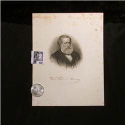1900 P Morgan Silver Dollar, Choice BU & a black & white print of Emperor of Brazil, Pedro II, with
