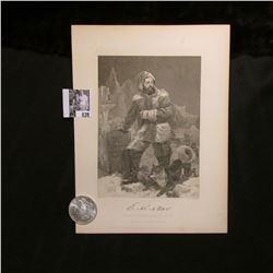 1898 P Morgan Silver Dollar, Choice BU & a black & white print of E.K. Kane, with a copy of his orig