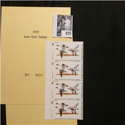 1973 Booklet Pane of Four Iowa Duck Stamps in folder No. 9310. Crisp Uncirculated.