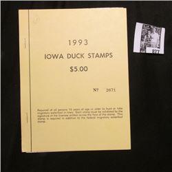1993 Booklet Pane of Ten Iowa Duck Stamps in folder No. 2671. Crisp Uncirculated.