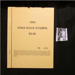 1994 Booklet Pane of Ten Iowa Duck Stamps in folder No. 4416. Crisp Uncirculated.