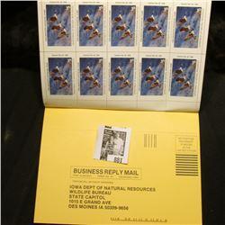 1997 Booklet Pane of Ten Iowa Duck Stamps in folder No. 3065. Crisp Uncirculated.