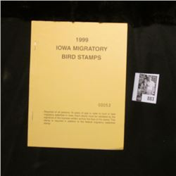 1999 Booklet Pane of Ten Iowa Duck Stamps in folder No. 00053. Crisp Uncirculated.