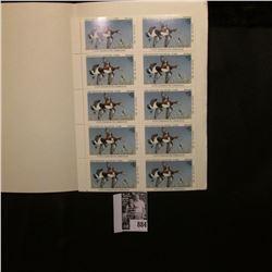 1980 Pane of Ten $5 Iowa Duck Stamps, pristine mint condition, no booklet.