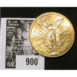 1821-1947 Mexico Fifty Peso Gold Piece, Brilliant Uncirculated.
