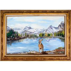 Large Deer and Lake Painting
