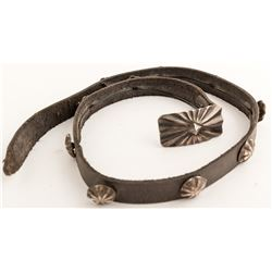Leather Hat Band with Silver Conchos