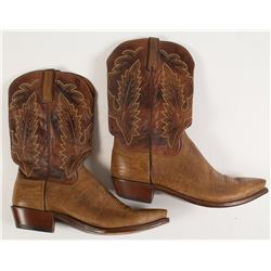 Lucchese Two-Tone Brown Leather Cowboy Boots