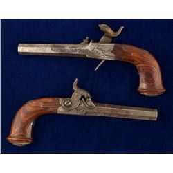 Pair of Auguste Francotte folding trigger percussion pocket pistols