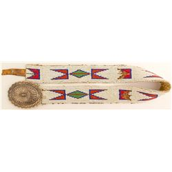 Beaded Belt with Large Silver Concho