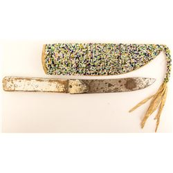 Beaded Scabbard with Knife