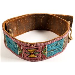 Crow Beaded Belt with Brass Tacks