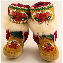 Indian Beaded Boots with Fur
