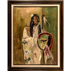 Indian w/ Shield Oil Painting by J Annis