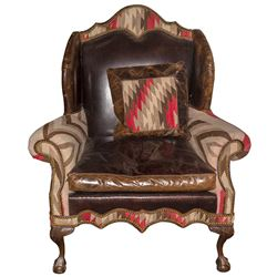 Leather and Navajo Rug Chair