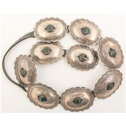 Navajo Belt with 9 Large Silver Conchos