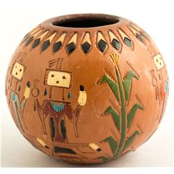 Painted Navajo Yei Pot by Irene & Kenneth White