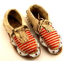 Quilled and Beaded Sioux Moccasins