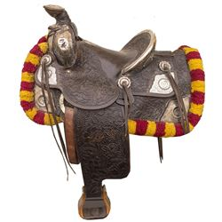 Keyston Bros. Silver Parade Saddle with Silver Headstall and Breast Collar