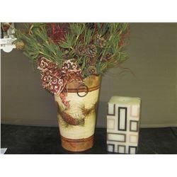 Candle & metal vase