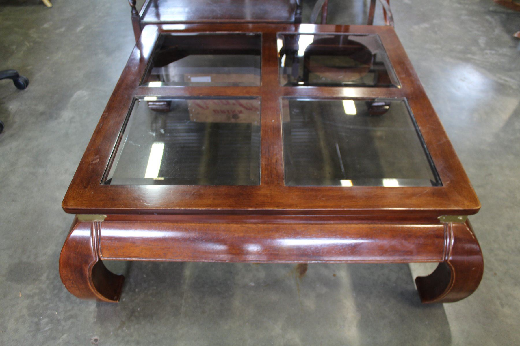 Large Square With Glass Inserts Coffee Table