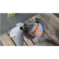 """Qty 2 Stainless Steel 5-Blade Propellers, Approx. 14"""" Diameter"""