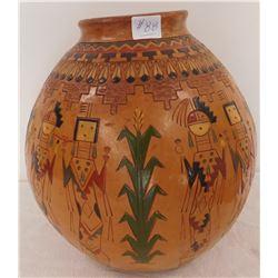 Large Navajo Pottery Olla w/Deities
