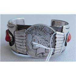 Navajo Watchband w/Silver Dollar