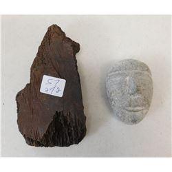Eskimo Mask & Fossil Bone