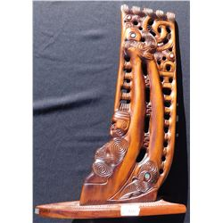 New Zealand Carved Wood Canoe Prow