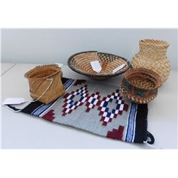 Navajo Rug & 5 Southwest Baskets