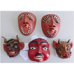 5 Small Mexican Masks