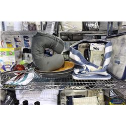 SHELF LOT OF MISC DEPARTMENT STORE ITEMS INCLUDING PILLOWS, FRYING PANS, BEDDING AND MORE