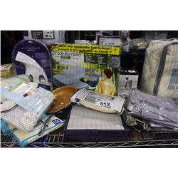 SHELF LOT OF MISC DEPARTMENT STORE ITEMS INCLUDING FRYING PAN, CUSHION, KING SIZED BLANKET AND MORE