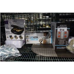 SHELF LOT OF MISC DEPARTMENT STORE ITEMS INCLUDING MASSAGER, SANDWICH/WAFFLE MAKER, BEDDING AND