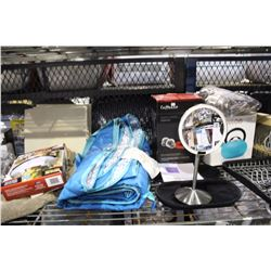 SHELF LOT OF MISC DEPARTMENT STORE ITEMS INCLUDING KETTLE, COFFEE CUPS, SIGNS AND MORE