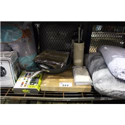 SHELF LOT OF MISC DEPARTMENT STORE ITEMS INCLUDING VACUUM, PILLOWS, FRYING PAN, CUTTING BOARD AND