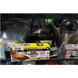 SHELF LOT OF MISC DEPARTMENT STORE ITEMS INCLUDING APPLE PEELER, RED CHOPPER, PILLOWS AND MORE