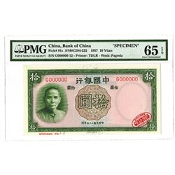 "Bank of China, 1937 ""TDLR"" Issue Specimen Banknote."