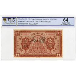Ningpo Commercial Bank Ltd., 1921, Specimen Note