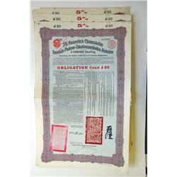 Kaiserlich Chinesische Tientsin-Pukow-Staatseisenbahn-Anleihe, 1908 Issued Quartet of Bonds