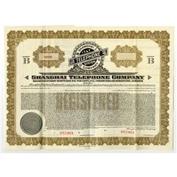 "Shanghai Telephone Co., 1933 Specimen Registered ""Silver Dollar Series"" Bond"