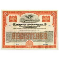 "Shanghai Telephone Co., 1934 Specimen ""Dollar Series"" Registered Bond"