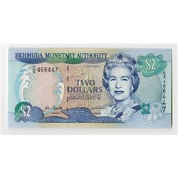 Bermuda Monetary Authority, $2, 7 May 2007, Issued Banknote Rarity.