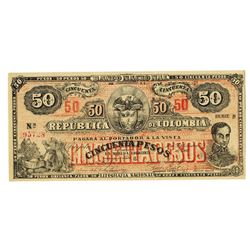 Banco Nacional de a Republica de Colombia, 1900, 50 Pesos P-279 Uncirculated Note