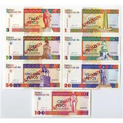 Banco Nacional de Cuba, Peso Convertibles, 1994 Specimen Banknote Set.