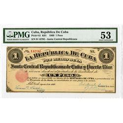 La Republica De Cuba, 1869 Junta Central Republicano Cuba y Puerto Rico Banknote.